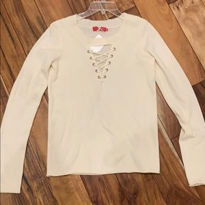 Nphilnthropy S off white lace up sweater w tags